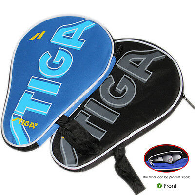 NEW Stiga Table Tennis Bat Case Ping Pong Paddle Bag Cover Portable Black / Blue