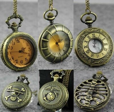 Retro Vintage Bronze Quartz Pendant Chain Necklace Pocket Watch Men Women Gifts