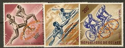 Guinea Sg439/41 1964Olympic Games O/print In Orange Mnh