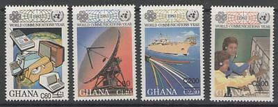 Ghana Sg1302/5 1989 World Communications Year Surcharges Mnh