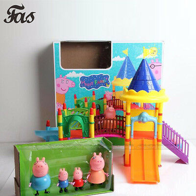 New Pink Peppa Pig Childs Toy Playground Children's Slide Play Set With Figures