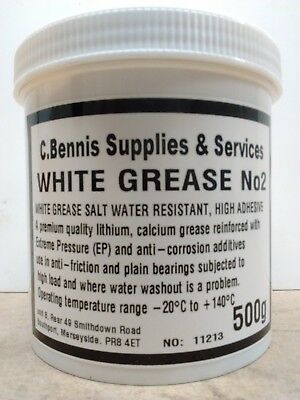 WHITE LITHIUM CALCIUM GREASE HIGH ADHESIVE, SALT WATER RESISTANT 500g TUB WG2