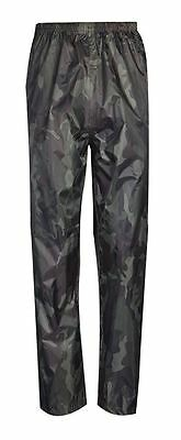 Mens Camouflage Fishing Waterproof Army Print Outdoor Rain Pants Over Trousers