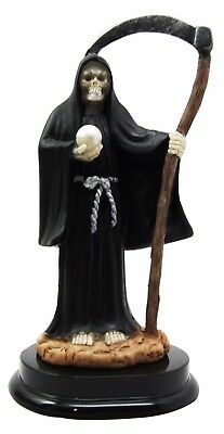 Black Santa Muerte Holy Death Grim Reaper Skeleton With Scythe Figurine Statue