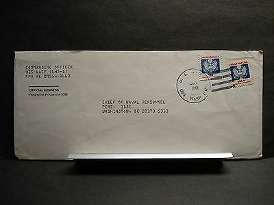 USS WASP LHD-1 Naval Cover 1993 w/ OFFICIAL STAMPS  FPO 09556