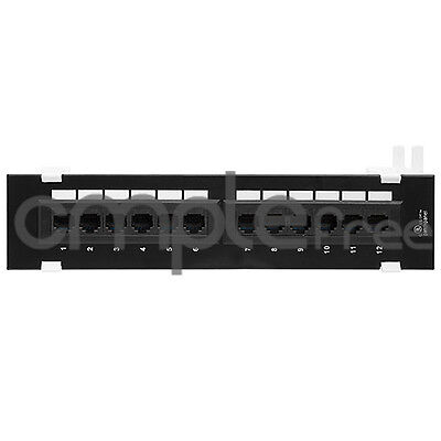 Cat5E Utp 12 Port Network Mini Panel 110 With Surface Wall Mount Bracket New