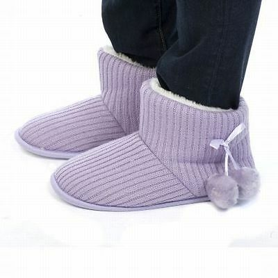 Ladies Sweater Knit Slipper Boot Choose Color Ribbed Fuzzy Lined Bootie Size 5-6