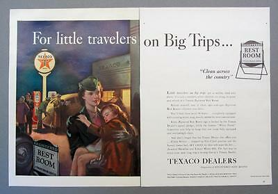 21 by 14 Original 1940 TEXACO Ad FOR LITTLE TRAVELERS ON BIG TRIPS