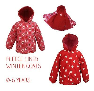 Girls Coat Kids Baby Jacket Winter Quilted Hooded Fleece Lined Ex Toby/Tiger
