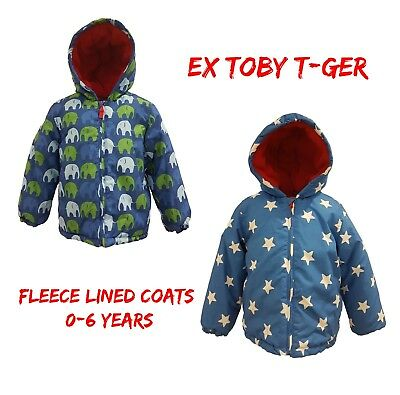 Boys Coat Kids Baby Jacket Winter Quilted Puffa Hooded FleeceLined Ex Toby/Tig