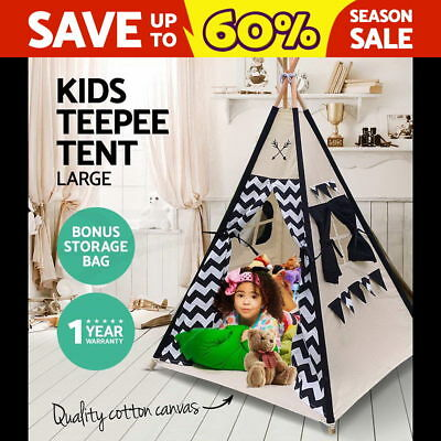 Large Kids Teepee Tent Children Home Canvas Pretend Play Tipi Outdoor Indoor