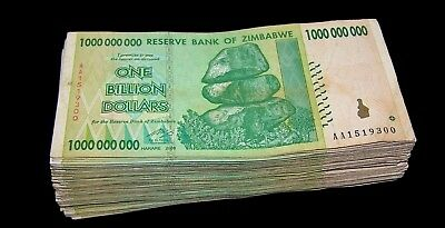 50 x Zimbabwe 1 Billion Dollar banknotes-1/2 currency bundle