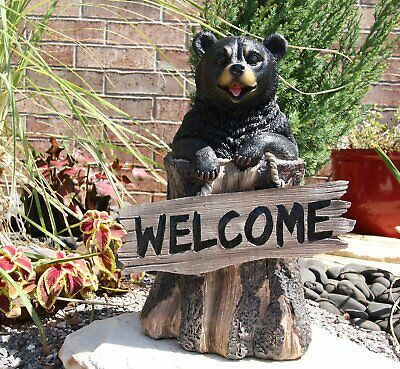"""13.5"""" Tall Welcome Sign Greeter Black Bear Outdoor Rustic Decorative Statue"""