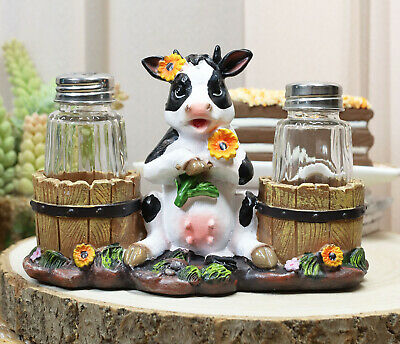 Sunflower Bovine Cow With Two Barrels Glass Salt Pepper Shaker Holder Figurine