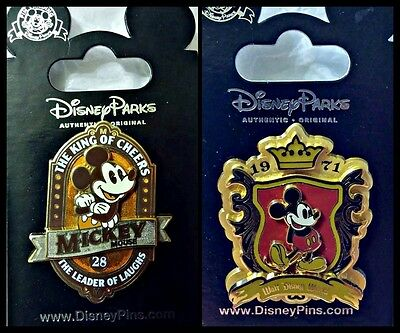 Disney Parks 2 Pin Lot Mickey Mouse WDW shield 1971 + The King of Cheers
