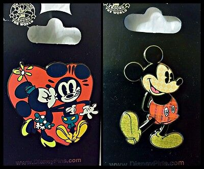 Disney Parks 2 Pin Lot Minnie kissing Mickey Mouse + Mickey with patterns body