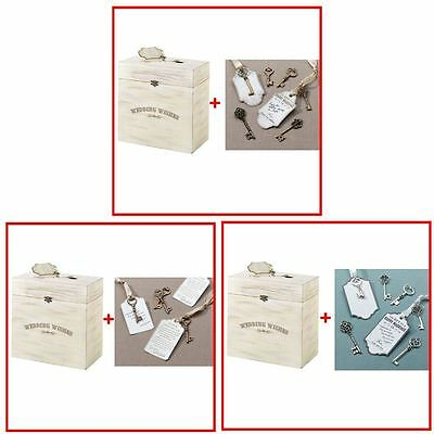 Wooden Well Wishing Wedding Party Key Card Box With 24 Keys, Ribbons & Tags