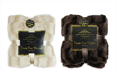 Faux Fur Throw Blanket Fleece Soft Comfort Sofa Bed Beige Brown 130 x 180cm
