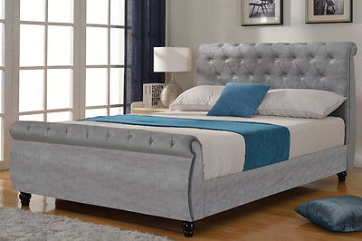 Grey Silver Velvet Upholstered Fabric Sleigh Chesterfield Bed Frame Double Size