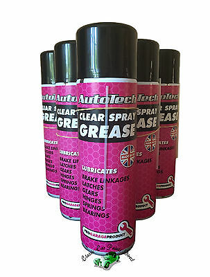 Autotech Clear Spray Grease (Brake, Latches etc) 500ml Aerosol - packs of 6 & 12