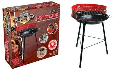 "BBQ Time 14"" Steel Tripod Patio Garden Grill Charcoal BBQ Lightweight Portable"