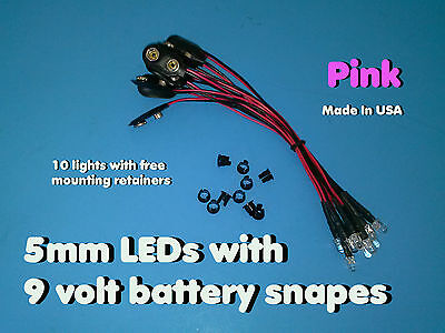 10 pcs 5mm PINK PRE WIRED LEDs 9 VOLT WATER CLEAR LED ON BATTERY SNAPS 9V CLIP