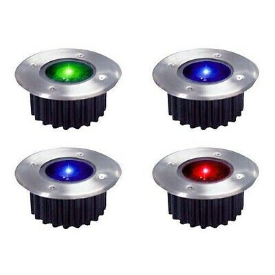 4 x STAINLESS STEEL COLOUR CHANGING LED SOLAR POWER GARDEN PATIO DECK LIGHTS