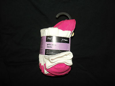 10 Pairs New Girls Ex Store White / Pink Cotton Rich Ankle Socks School 9 - 5.5