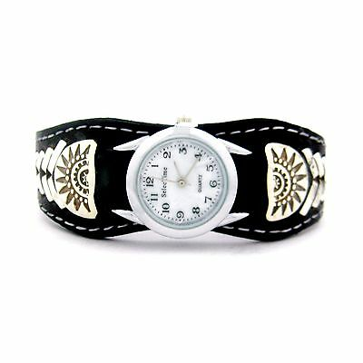 Frank Armstrong Sterling Silver & Leather Ladies Watch Cuff --- LW51