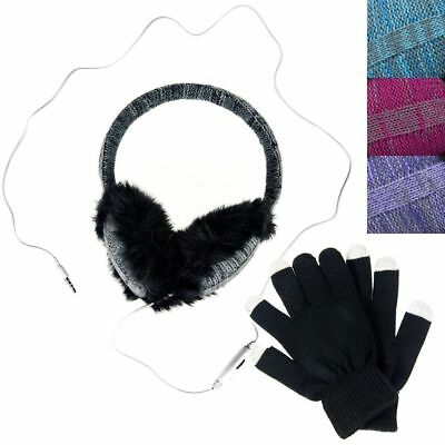 Wired Earmuff Headphones + Texting Glove Set Winter Ear Warmers for Smartphones