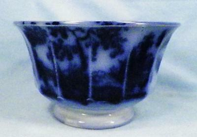 Antique Chapoo Flow Blue Waste Bowl Ironstone  J Wedgwood Large Chip As Is