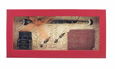 MANUSCRIPT DELUXE DIP PEN CALLIGRAPHY WRITING GIFT SET SEPIA INK & 3 NIBS spi