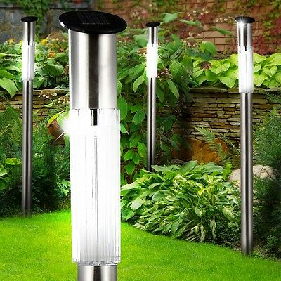 4x LED Solar Stainless steel Standard Stand Garden Lamp Porch Outdoor Light