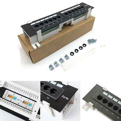 12 Ports CAT5E Patch Panel Home network device Wall Mount & Rack Mount Bracket -
