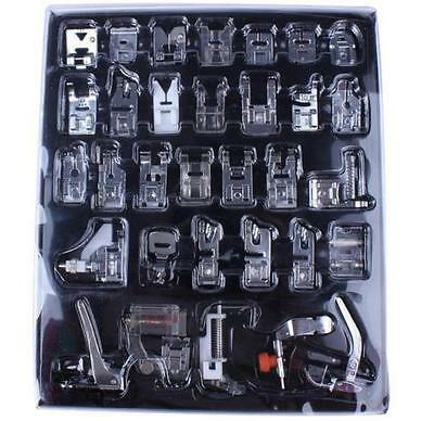 DZ1122 Set 32 Presser Foot Feet For Brother Singer Domestic Sewing Machine Part^