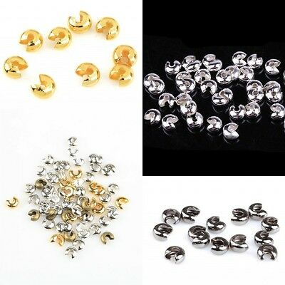 200Pcs Lots Golden Silver End Crimp Beads Knot Covers Finding DIY 3/4/5mm