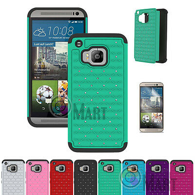For HTC One M9 Case Hybrid Luxury Bling Rubber Shockproof Matte Cover Skin