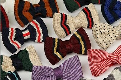 Pre Tied Double Layer Bowtie Knit Knitted Bow Tie Woven Fashion Men's Colorful