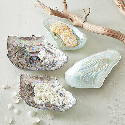 Two's Company Watercolors Sea Glass Lustrous Shell Plates Set of 4