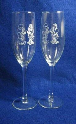 Personalized Minnie Mickey Mouse Wedding Glasses Flutes Engraved FREE