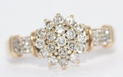 Secondhand 9ct Yellow Gold Multi Diamond Cluster Ring Size N