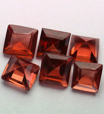 6 HESSONITE GRANATE Carre 3x3mm!!!