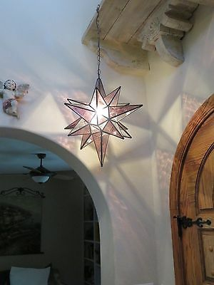 """Moravian 24""""  combo Clear/ wine Glass Star light / lamp with canopy"""