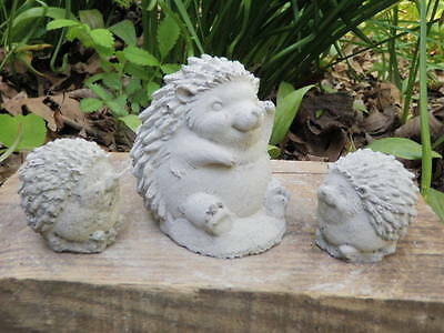 """1 1/2"""" -3 1/2"""" Tall Cement Hedgehog Family Lot of 3 Garden Concrete Statue"""
