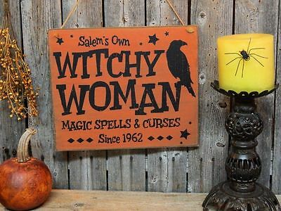 Primitive Wood WITCH Sign Magic Spells & Curses w/ CROW Halloween