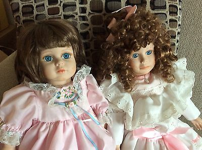 Kingstate Plaster And Porcelain Doll Lot Ruffle Lace N  Floral Embellish Clothe