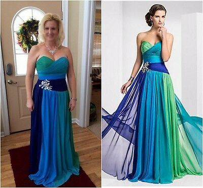 A++++New Women Long Chiffon Bridesmaid Evening Formal Party Ball Gown Prom Dress