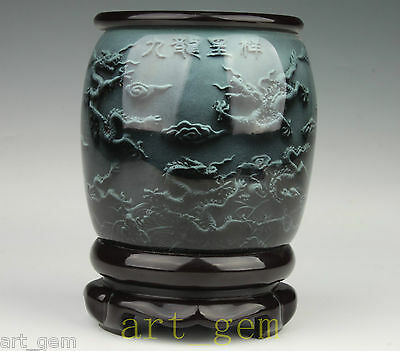 Chinese High-Grade Glass Painting Kowloon Rotating Brush Pot Gift pen container