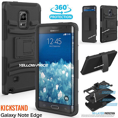 Black Hybrid Rugged Hard Soft Case Stand Cover Belt Case For Galaxy Note 5 Edge