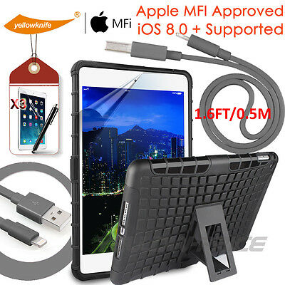 For iPad Mini 1 2 3 Apple Certified Lightning Charge Sync Cable Stand Case Film